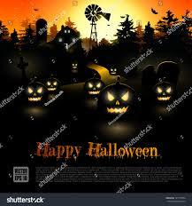 haunted farmhouse woods halloween poster stock vector 147729554
