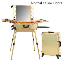 makeup luggage with lights professional rolling studio makeup case with led lights makeup train
