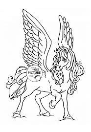 flying horse coloring page for kids animal coloring pages