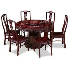48in rosewood flower and bird motif round dining table with 6