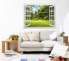 wall mural beautiful garden view out of the open window wall zoom
