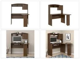 corner computer desk hutch l shaped home office walnut student