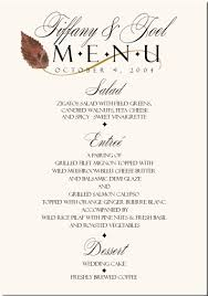 wedding buffet menu ideas fall wedding menu cards autumn theme wedding menu cards fall