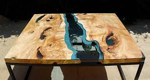 live edge river table epoxy sold live edge river coffee table with dark blue epoxy inlay