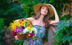 girls with flowers wallpapers