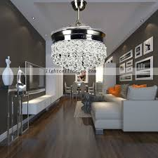 Retractable Ceiling Light Retractable Crystal Led Ceiling Fan With Remote Controlling