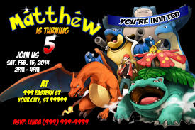 Birthday Invitation E Card Designs Pokemon Birthday Invitations