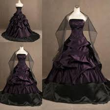 custom gothic ball gown purple and black plus size wedding dresses