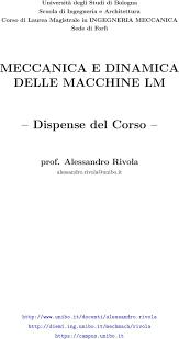 dispense unibo meccanica e dinamica delle macchine lm dispense corso pdf