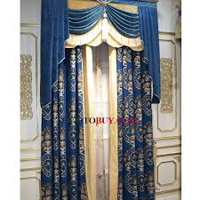 Discount Curtains And Valances Royal Blue Chenille Insulated And Thermal Blackout Living Room
