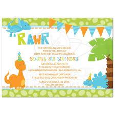 dinosaur birthday birthday party invitation boy dinosaur in orange blue and green