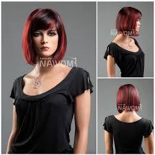 medium length bob hairstyle pictures new fashion kanekalon side swept bang black u0026 red neck length
