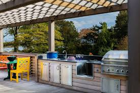 outdoor kitchen faucets boston modular outdoor kitchens deck transitional with water view
