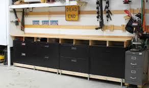 Lateral Metal File Cabinets Filing Cabinets Modified Into Tool Cabinet Rolling Work Bench