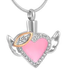 pet ashes jewelry cmj8343 pink angel heart funeral urn necklace stainless steel