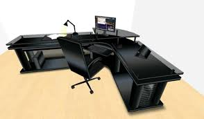 Black Office Desk Second Marketplace Led Midnight Black Corner Office Desk