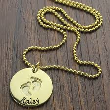 baby name plate necklace baby footprints name necklace 18k gold plated