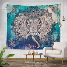 boho elephant tapestry ganesh elephant wall hanging indie shabby