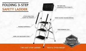 amazon com folding 3 step safety step ladder padded side