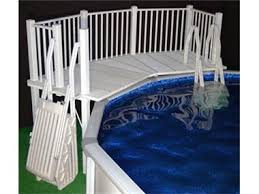 above ground pool fence resin fan pool deck with steps white