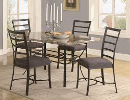stunning dining room interior with five pieces metal dining table