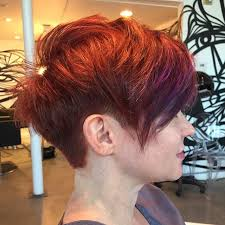 my cut and color pixie cut with a weight line tapered with a 2