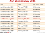 When is ASH WEDNESDAY 2015 and 2016? Date of ASH WEDNESDAY 2015