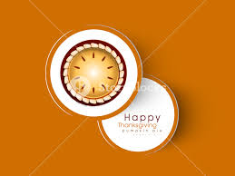 happy thanksgiving day concept with pumpkin pie on orange background
