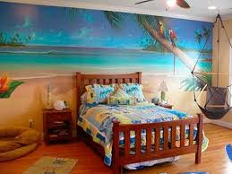 bedroom theme ideas beach theme with wallpaper and wooden bed and