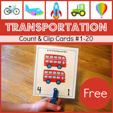 free transportation printable transportation count u0026 clip cards