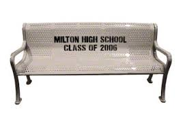 Personalized Park Bench 5 U0027 Custom Two Color Perforated Roll Formed Logo Bench Commercial