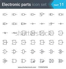complete vector set electric electronic circuit stock vector