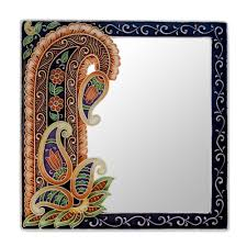 wall art from india shenra com handmade paisley wall mirror from india precious paisley novica