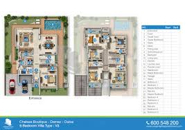 6 Bedroom Floor Plans Floor Plan Of Chelsea In Boutique Villas Damac Dubai