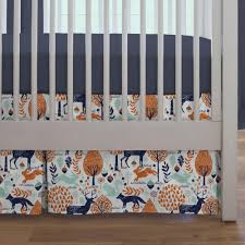 Deer Crib Sheets Navy And Orange Woodland 3 Piece Crib Bedding Set Carousel Designs