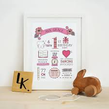 personalised first birthday print by the loyal kingdom