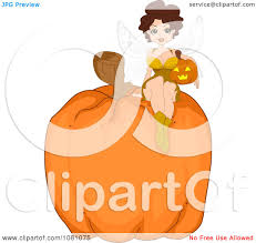 clipart halloween fairy pinup woman on a giant pumpkin royalty