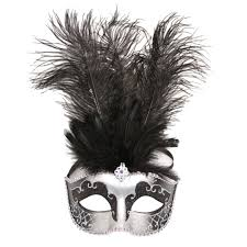 masquerade masks with feathers of grey masquerade mask