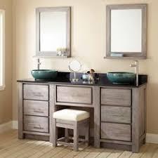 Double Vessel Sink Bathroom Vanities by Double Sink Bathroom Vanity With Makeup Area In Master Bath The