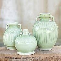 3 Vases Set Celadon Vases At Novica