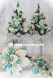 Wedding Flowers Blue And White 12pc Aqua Blue U0026 White Rose Calla Lilies Wedding Flowers Bridal