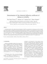 determination of the diffusion coefficient of lifepo4 pdf