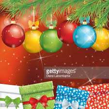 tree and ornaments on background vector getty
