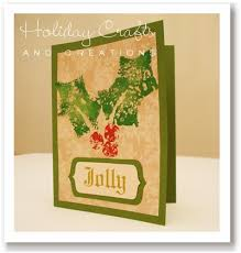 handmade christmas card ideas sponge stamped holly