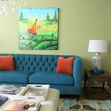 home decoration blue sofa red cushion nightstand night lamp
