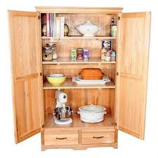 unfinished wooden free standing kitchen pantry with 2 bottom