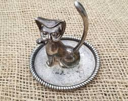 silver cat ring holder images Cat ring dish with gold white jpg