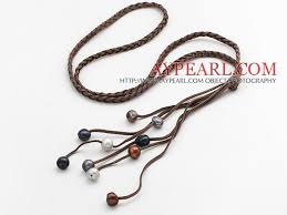 leather necklace long images Long style potato shape multi color pearl leather necklace with jpg