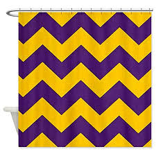 Yellow And Purple Curtains Chevron Shower Curtain