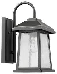 Lamp Sconce Textured Black Finish Outdoor Wall Sconce Rectangular Glass